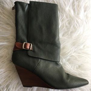 Anthropologie pointed toe wedge boots size 9-10